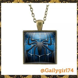 Other - Spiderman Square Glass Cabochon Brass Necklace